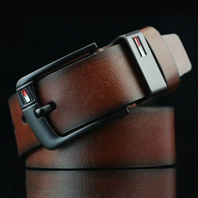 Brown Colour-----Mens PU Leather Belt Business Waistband Work Dress Pin Buckle