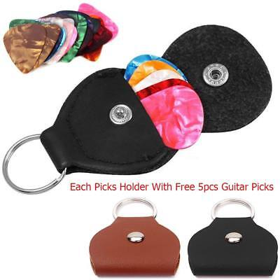 MINI Guitar Plectrum Plec Leather Holder Pickholder Case Keyring Bag + 5 Picks