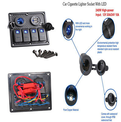 New 4 Gang Dual USB Cigarette Lighter Socket Car Switch Panel w/Rubber Seal-cap