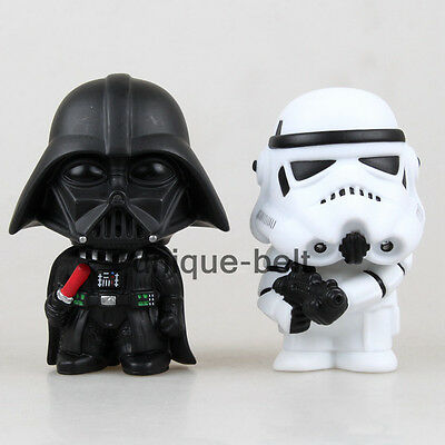 """Lot 2 pcs  Star Wars Darth Vader & Stormtrooper Toy action figures 4"""" New in box"""