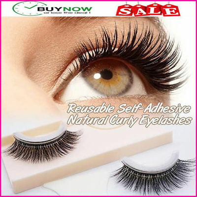 1 pair of Reusable Self-Adhesive Natural Curly False Eyelashes Extension 3D PRO