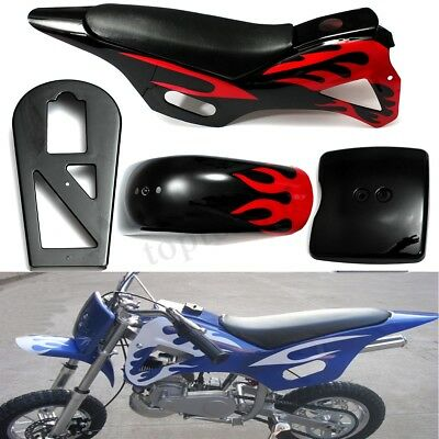 5 Piece Fairing Kit Flame Plastics For 49CC Mini Dirt Bikes Black/Red With Seat