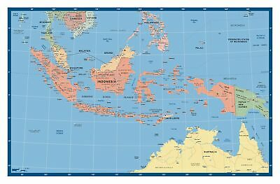 Indonesia Supermap 1400 x 900mm Laminated Wall Map - BMA