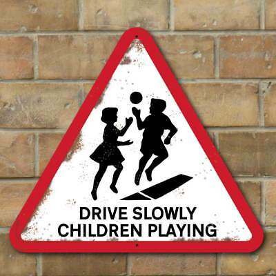 Vintage Style SLOW CHILDREN PLAYING SIGN , Kids Road Safety Sign, Slow Down Sign