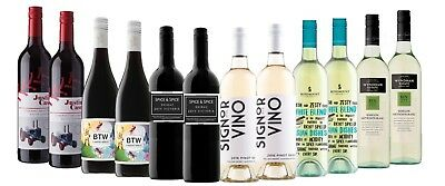 Dinner Party Sampler Mix Wine Pack - 12 x 750ml RRP $220 Free and Fast Delivery