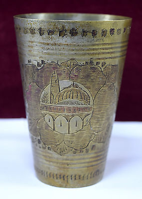 Authentic Vintage Old Indian Brass Lassi Cup/ Glass Excellent Decor. G66-196 AU