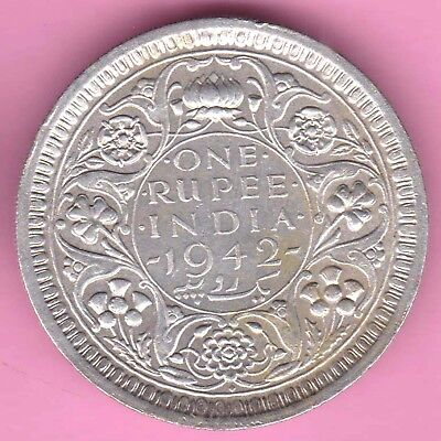 British India-1942-Bombay Mint-One Rupee-King George 6-Rarest Silver Coin-32