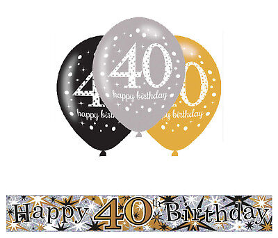 40Th Birthday Gold Black Silver Party Pack With Banner 12 Helium Balloons