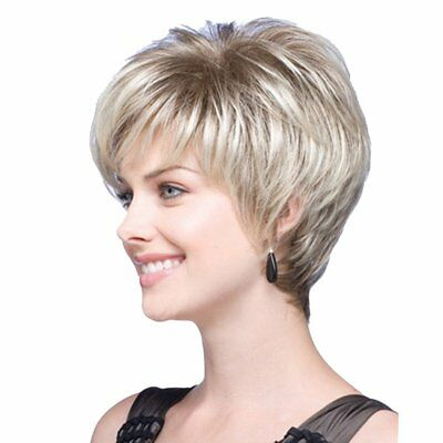 Beautiful Blonde High Temperature Fiber Synthetic Wigs Women Natural Short WigAU