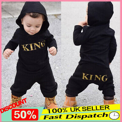 "Newborn Baby Kids Boy's ""KING"" Hooded Romper Bodysuit Jumpsuit Clothes Outfits"
