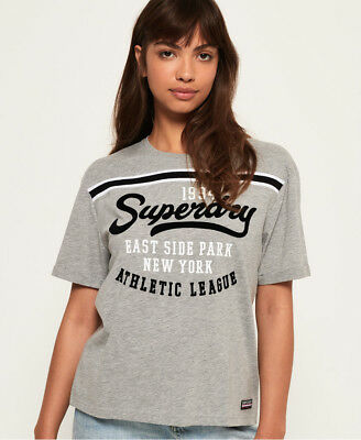 Neues Damen Superdry Urban Logo T-Shirt Dawn Grau Meliert