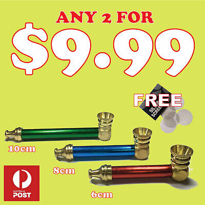 2 X Tobacco smoking pipe - Metal smoking pipe  brass cone pieces