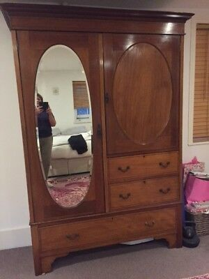 Beautiful large antique wardrobe with drawers and mirror