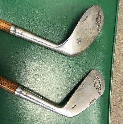 RARE VTG 1920's Wilson Johnny Farrell HICKORY WOOD Shaft Iron Golf Clubs