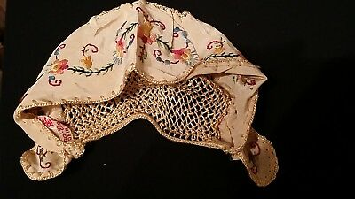 Rare Hand Embroidered Made in Hungary Antique Infant or large doll Hat Cap
