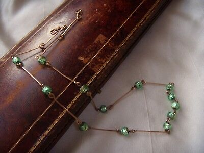 Beautiful VINTAGE ART DECO Peridot Foil Glass Beads ROLLED GOLD NECKLACE