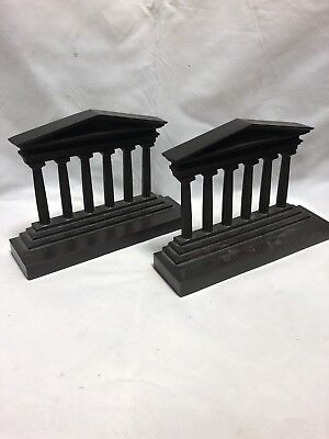 Antique 1920'S Bradley And Hubbard Heavy Brass Parthenon Bookends Stamped