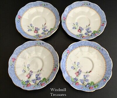 Set Of 4 Royal Albert Harebell Coffee Cup Saucers - Good Condition