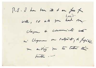 Charles Darwin - Autograph Note - Sent 12 Days Before His Death re/ His Illness