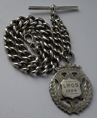 Fantastic antique solid sterling silver pocket watch albert chain & silver fob