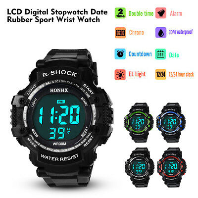 Mens Boys LCD Digital Alarm Counter Stopwatch Date Running Sports Wristwatch