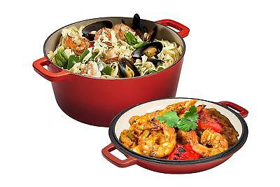 2 in 1 Enameled Double Dutch Oven, 5-Quart, Red