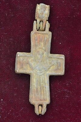 Byzantine bronze Cross Encolpion Jesus Christ raising hands / Crucified 700 AD