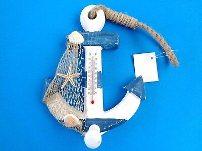 """Thermometer maritim, """" ANKER """", Holz, 17 cm hoch"""