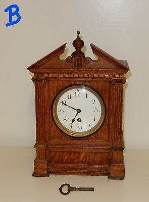 Vintage Oak Mantel Clock wit Broken Swan Neck Pediment (B) A/F
