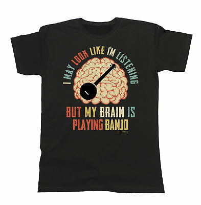 Mens Womens T-Shirt My Brain Is Playing BANJO Music Tee Gift Christmas Funny