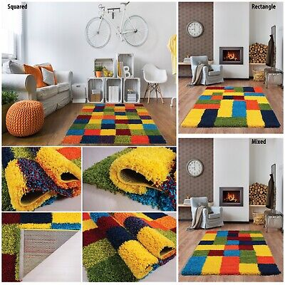 Modern Multi Coloured Squared Small - Large Living Room Area Fluffy Shaggy Rug