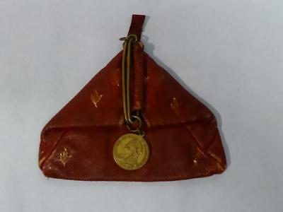Antique Leather Coin Purse With Faux Victorian Sovereign Catchment Dated 1913