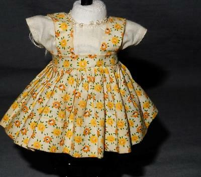 Vintage 1950's-60's Ginny Vogue Tagged  Cotton Dress Yellow, Floral