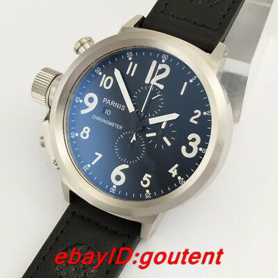 50mm Parnis Black Dial Big Face Chronograph Quartz Mens Wrist Watch Wristwatches