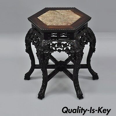 Antique Carved Hardwood Marble Top Oriental Plant Stand Pedestal Side Table