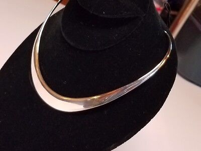 Vintage Sterling Silver Neck Torque Cuff Necklace Choker Necklet Solid Heavy 46g