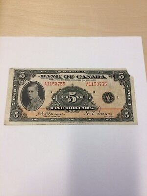 1935 $5 BANK OF CANADA NOTE Missing Top Right Hand Corner