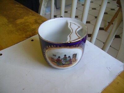 Vintage collectible moustache cup with Welsh scene & cobalt blue.