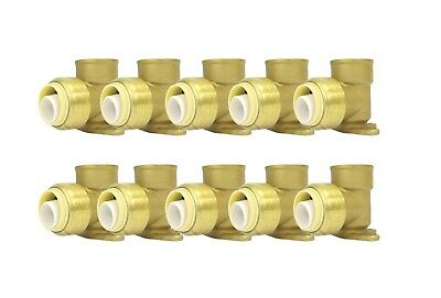 "3/4"" Sharkbite Style (Push-Fit) Brass Drop Ear Elbow, Pack Of 10 Connect Fitting"