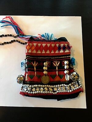 Vtg Authentic Akha Small Child's Hilltribe Hat-Bells-Coin-Beads-Southeast Asia