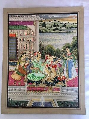 001 An old antique look mughal style miniature paper painting of KING & QUEEN
