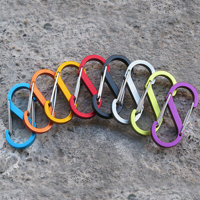 5x Strong S Shape 8Type Buckle Carabiner Keychain Hook Climbing S-biner Lock Lot