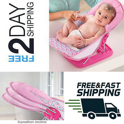 Summer Infant Deluxe Travel Baby Bather PINK Bath Support Seat Beach Chair NEW..