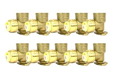 "1/2"" Sharkbite Style (Push-Fit) Brass Drop Ear Elbow, Pack Of 10 Connect Fitting"