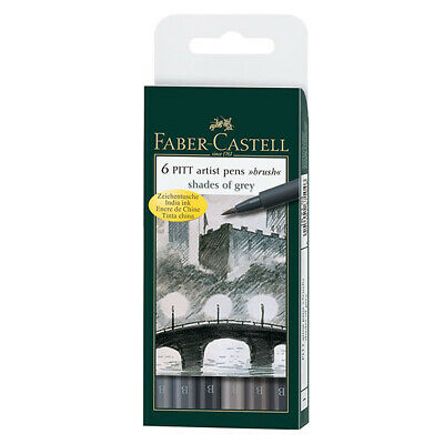 Faber-Castell - Pitt Artist Pen Brush Wallet of 6, Shades of Grey