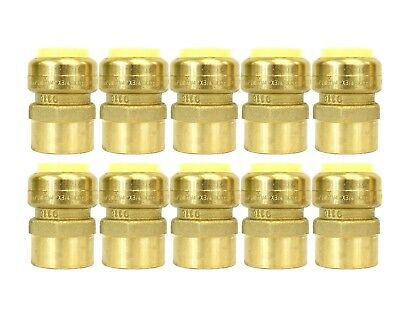 """1/2"""" Sharkbite Style (Push-Fit) Brass Female Adapter, Pack Of 10 Connect Fitting"""