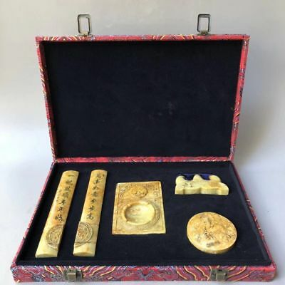 Old China Natural Shoushan Stone Carved Inkstone Paperweight Pen Holder Set