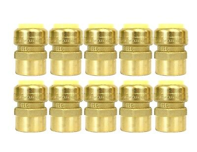 """NEW 1"""" Sharkbite Style Push-Fit Brass Female Adapter, Pack Of 10 Connect Fitting"""