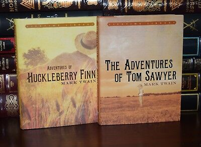 The Adventures of Tom Sawyer & Huckleberry Finn ⭐ by Twain New Deluxe Hardcover Antyki i Sztuka