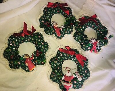 Quilted Christmas Ornaments.Lot Of 4 Handmade Quilted Christmas Wreaths With Cute Vintage Ornaments Attached